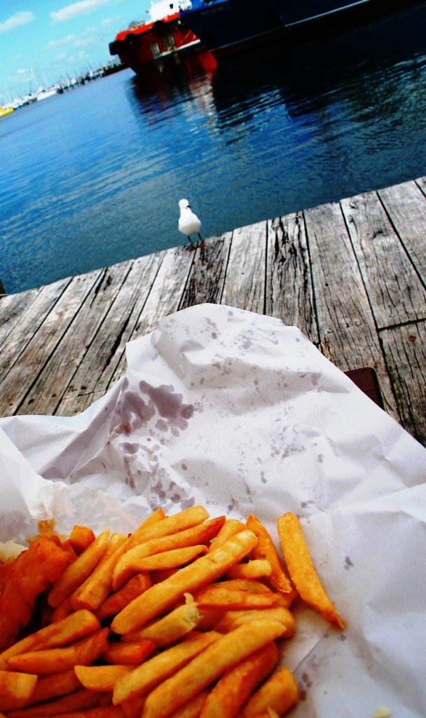 Fish and chips in the harbour
