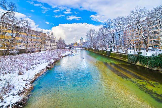 Munich, Isar River with Museum Island