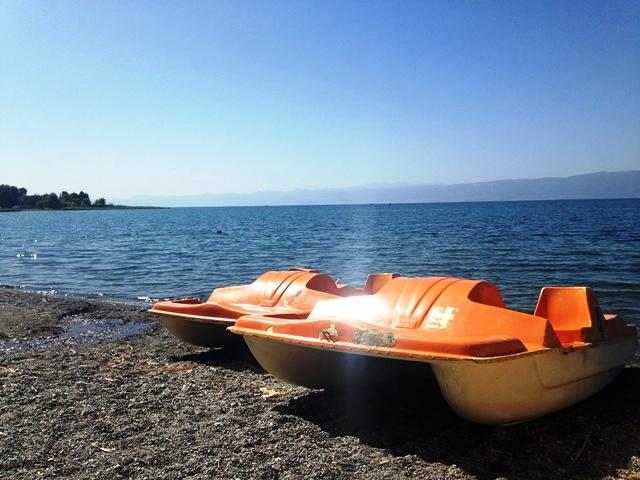 Waterfietsen op het meer van Ohrid