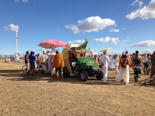 art vehicle with crowd