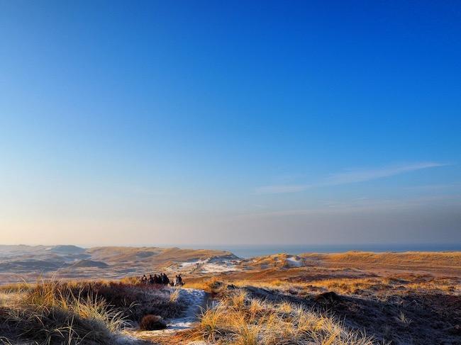 Uitzicht over de duinen van Egmond en wandelende mensen tijdens wandelen in Nederland