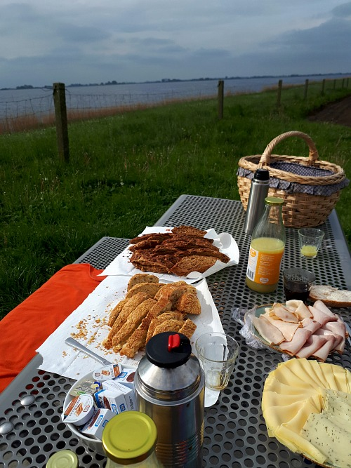 Picknicken op de dijk bij Land Art in Flevoland