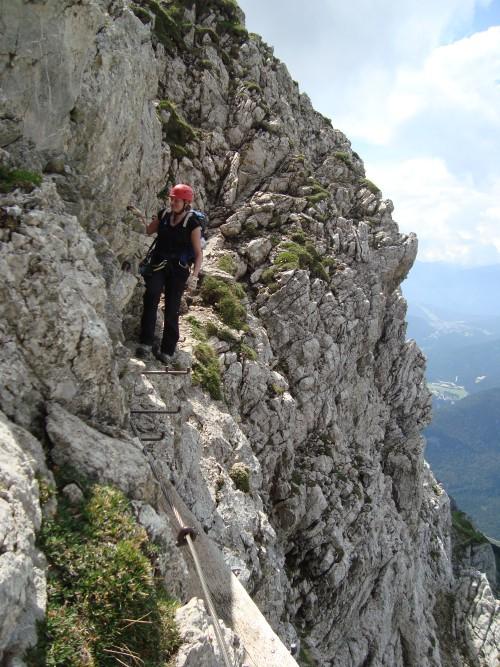 In actie tijdens klettersteigen